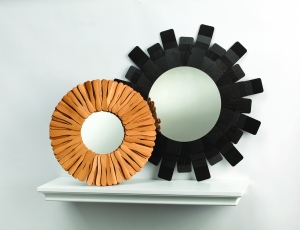 Gilded Ice Cream Mirror and Minimalist Sunburst Mirror